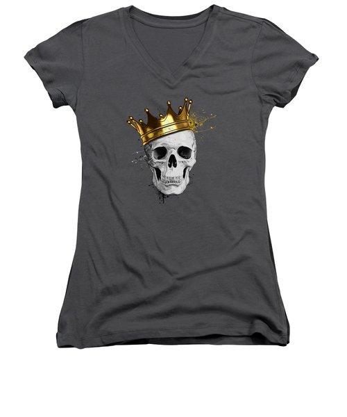 Women's V-Neck T-Shirt (Junior Cut) featuring the digital art Royal Skull by Nicklas Gustafsson