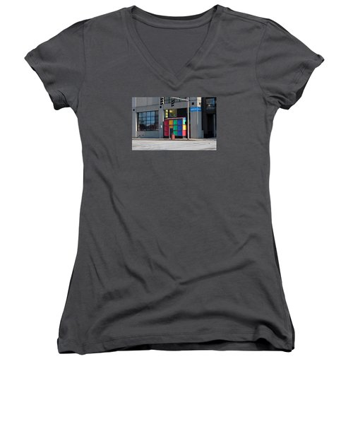 Women's V-Neck T-Shirt (Junior Cut) featuring the photograph Rubik Shelter by Michiale Schneider