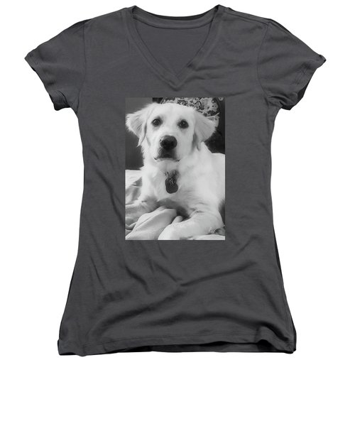 Women's V-Neck T-Shirt (Junior Cut) featuring the photograph Ruby by Bruce Carpenter