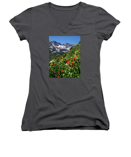 Ruby Mountain Wildflowers - Vertical Women's V-Neck T-Shirt (Junior Cut) by Alan Socolik
