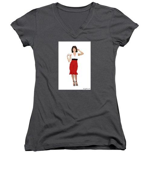 Women's V-Neck T-Shirt (Junior Cut) featuring the digital art Ruby by Nancy Levan