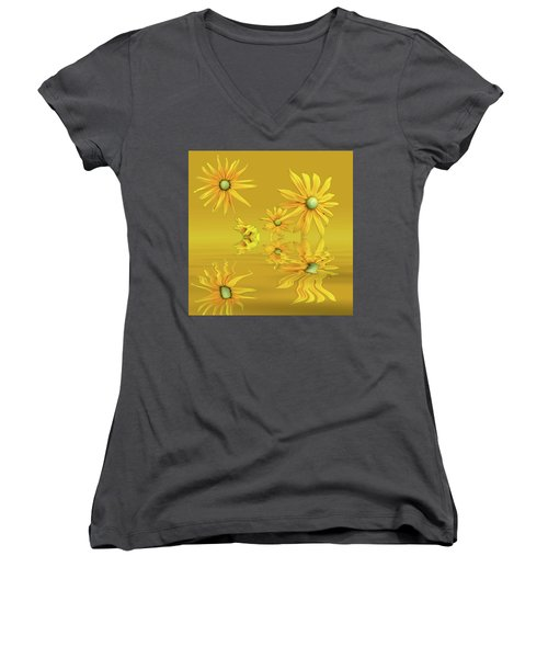 Women's V-Neck T-Shirt (Junior Cut) featuring the photograph Rudbekia Yellow Flowers by David French