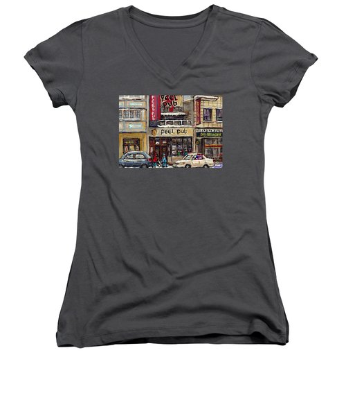 Rue Peel Montreal Winter Street Scene Paintings Peel Pub Cafe Republique Hockey Scenes Canadian Art Women's V-Neck