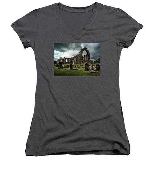 Ruins Of Bolton Abbey Women's V-Neck T-Shirt (Junior Cut) by Jaroslaw Blaminsky