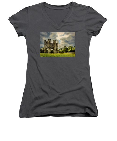 Ruins Of Mellifont Abbey Women's V-Neck T-Shirt (Junior Cut) by Jeff Kolker
