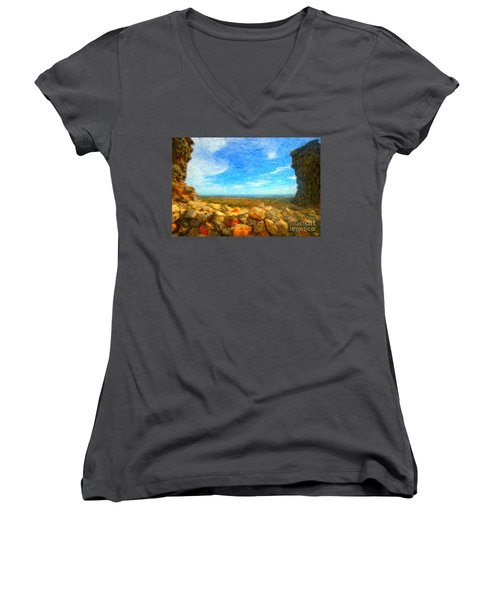 Ruins View Of Mediterranean Women's V-Neck T-Shirt (Junior Cut)