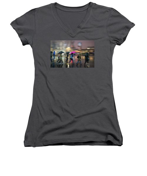 Women's V-Neck featuring the photograph Run Between The Raindrops by Alex Lapidus