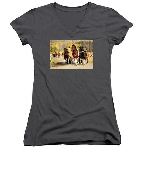 Run Out Women's V-Neck T-Shirt (Junior Cut) by Sharon Jones
