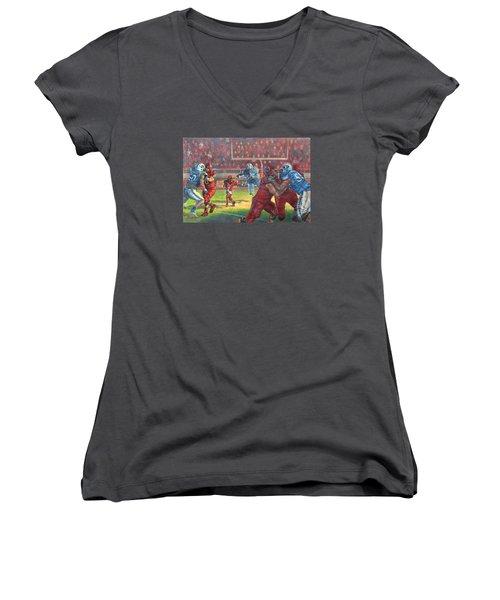 Running Courage Women's V-Neck T-Shirt (Junior Cut) by Jeff Brimley