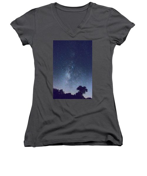 Running Dog Tree And Galaxy Women's V-Neck (Athletic Fit)
