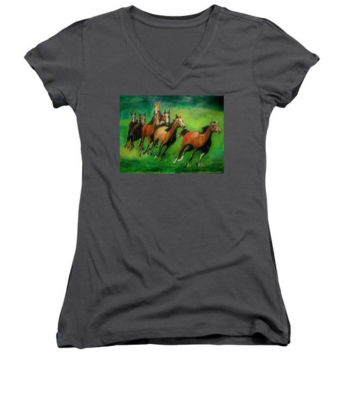 Running Free Women's V-Neck T-Shirt (Junior Cut) by Khalid Saeed