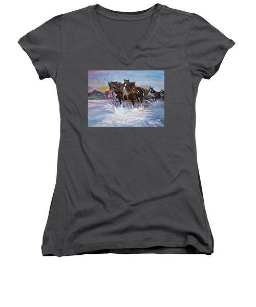 Running Horses- Beach Gallop Women's V-Neck T-Shirt (Junior Cut)