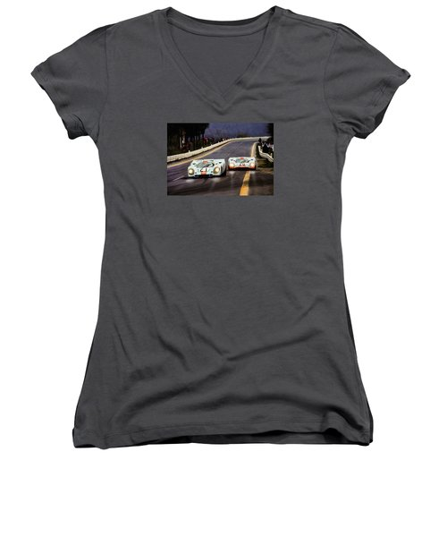 Running One Two Women's V-Neck T-Shirt (Junior Cut) by Peter Chilelli