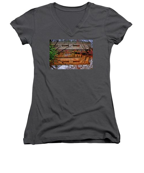Running Waters Covered Bridge 025 Women's V-Neck T-Shirt (Junior Cut) by George Bostian