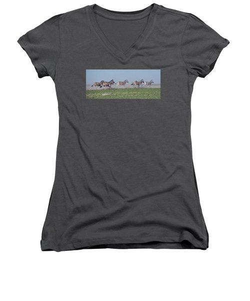 Running Zebras Women's V-Neck (Athletic Fit)