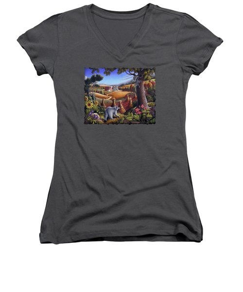 Rural Country Farm Life Landscape Folk Art Raccoon Squirrel Rustic Americana Scene  Women's V-Neck T-Shirt