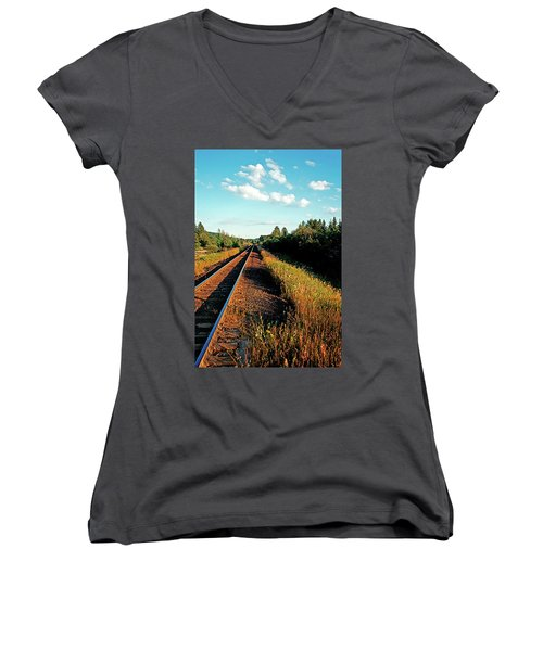 Rural Country Side Train Tracks Women's V-Neck
