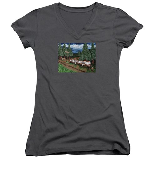 Women's V-Neck T-Shirt (Junior Cut) featuring the painting Rural Delivery by Katherine Young-Beck