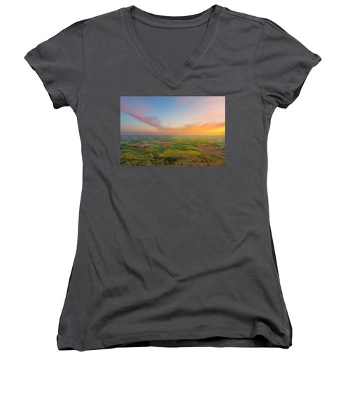 Rural Setting Women's V-Neck T-Shirt (Junior Cut) by Ryan Manuel