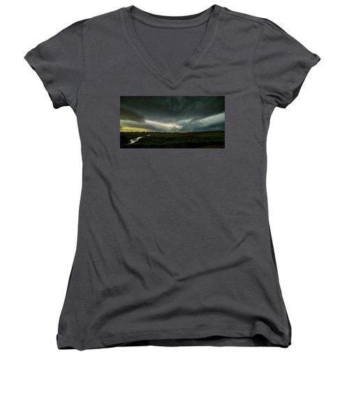 Rural Spring Storm Over Chester Nebraska Women's V-Neck T-Shirt (Junior Cut) by Art Whitton