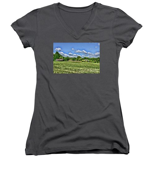 Women's V-Neck T-Shirt (Junior Cut) featuring the photograph Rural Virginia by Paul Ward