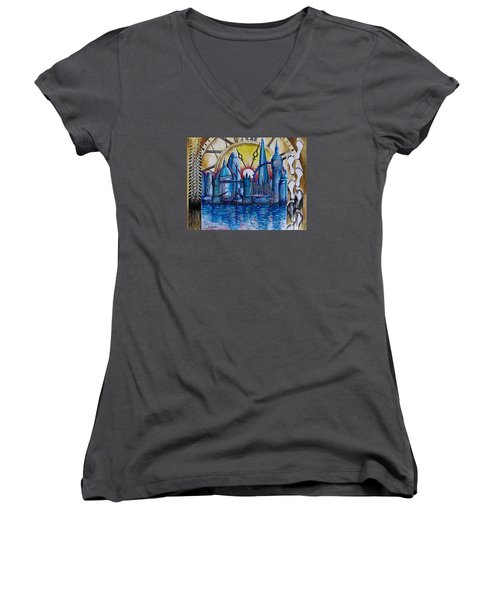 Rush Hour In London Women's V-Neck (Athletic Fit)