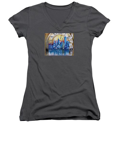 Rush Hour In New York  Women's V-Neck T-Shirt (Junior Cut) by Geni Gorani