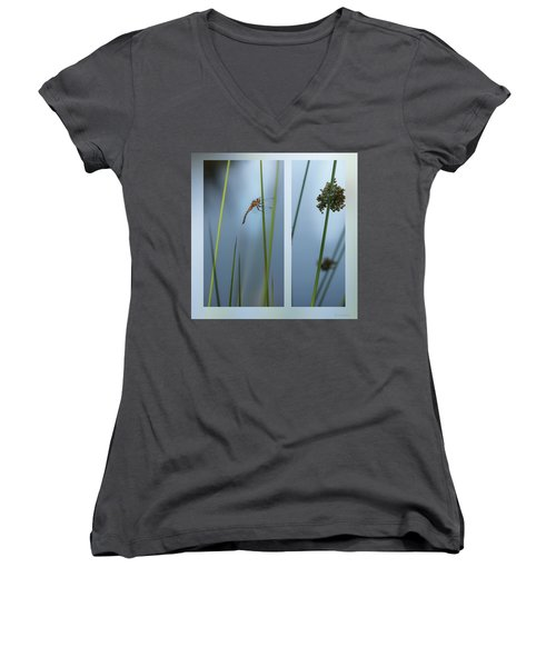 Rushes And Dragonfly Women's V-Neck