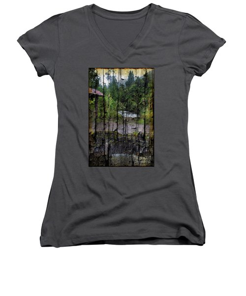 Rushing Cascade In The Andes - On Bark Women's V-Neck T-Shirt