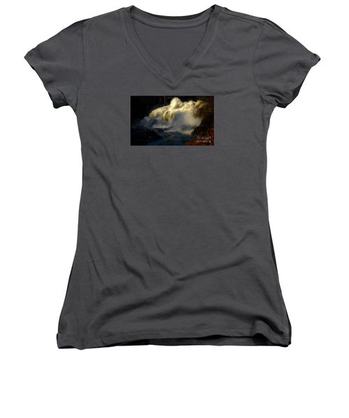 Rushing Water Women's V-Neck T-Shirt (Junior Cut) by Sherman Perry