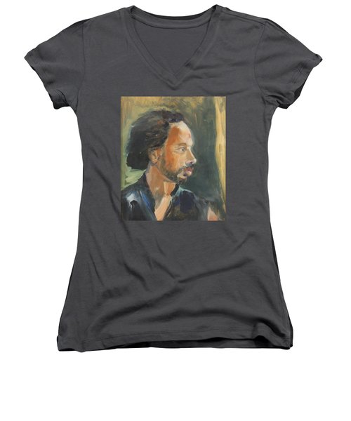 Women's V-Neck T-Shirt (Junior Cut) featuring the painting Russell by Daun Soden-Greene