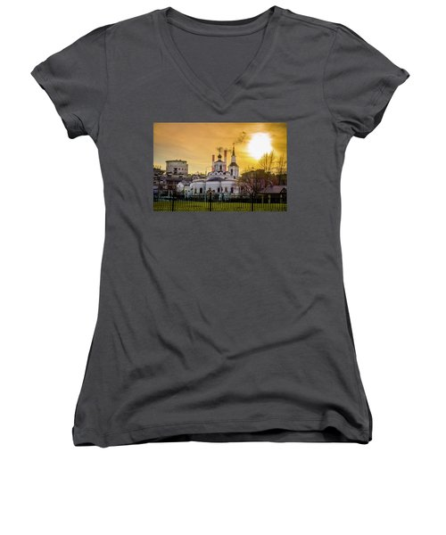 Women's V-Neck T-Shirt (Junior Cut) featuring the photograph Russian Ortodox Church In Moscow, Russia by Alexey Stiop