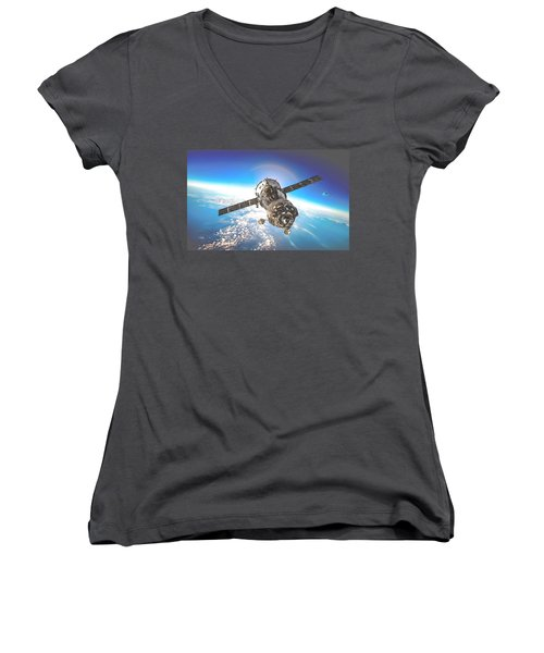 Majestic Blue Planet Earth Women's V-Neck T-Shirt (Junior Cut) by Maciek Froncisz
