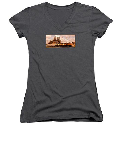 Rust In Peace Women's V-Neck T-Shirt (Junior Cut) by DJ Florek