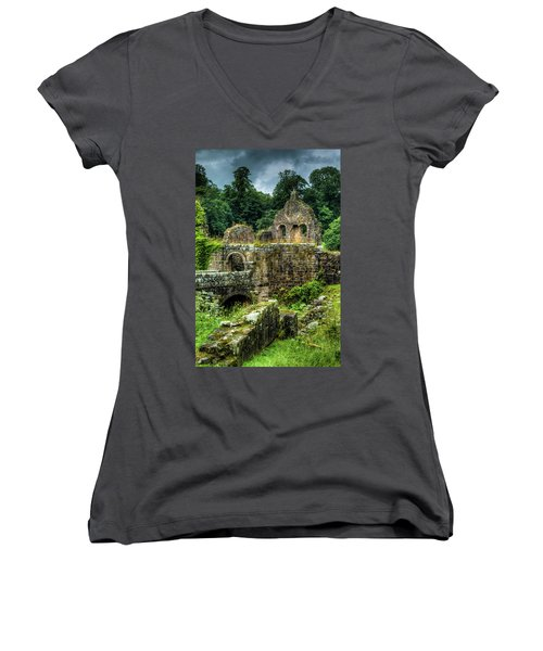 Rustic Abbey Remains Women's V-Neck