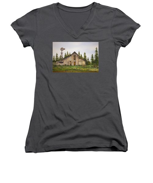 Women's V-Neck T-Shirt (Junior Cut) featuring the painting Rustic Barn by James Williamson