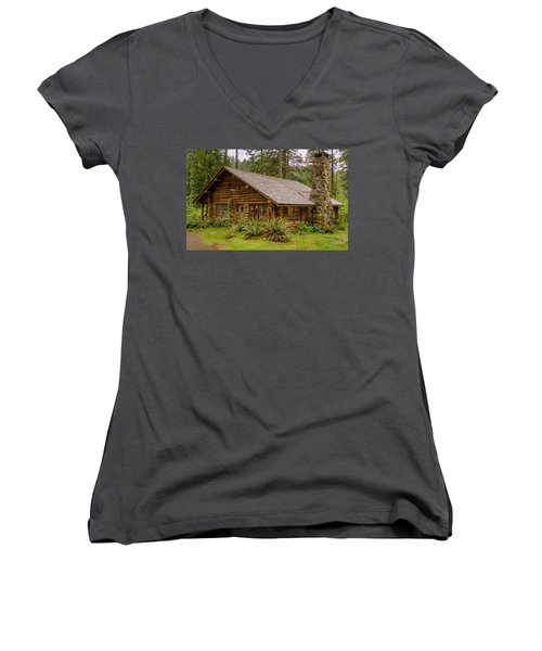 Women's V-Neck T-Shirt (Junior Cut) featuring the photograph Rustic Cabin by Jerry Cahill