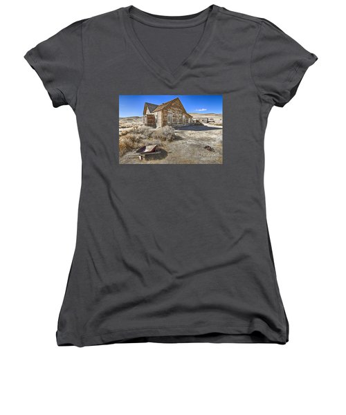 Women's V-Neck T-Shirt (Junior Cut) featuring the photograph Rustic House by Jason Abando