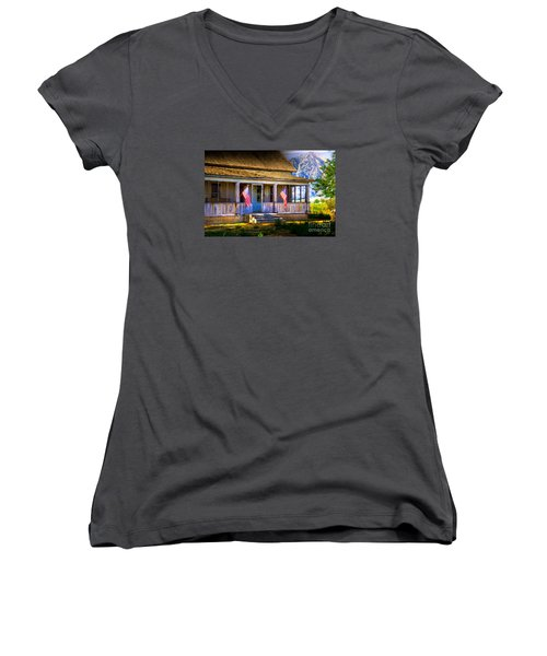Women's V-Neck T-Shirt (Junior Cut) featuring the photograph Rustic Patriotic House by Kelly Wade
