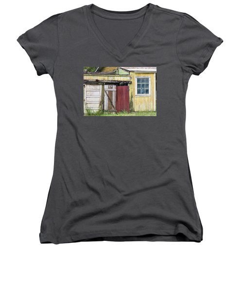 Rustic Shed Panorama Women's V-Neck (Athletic Fit)