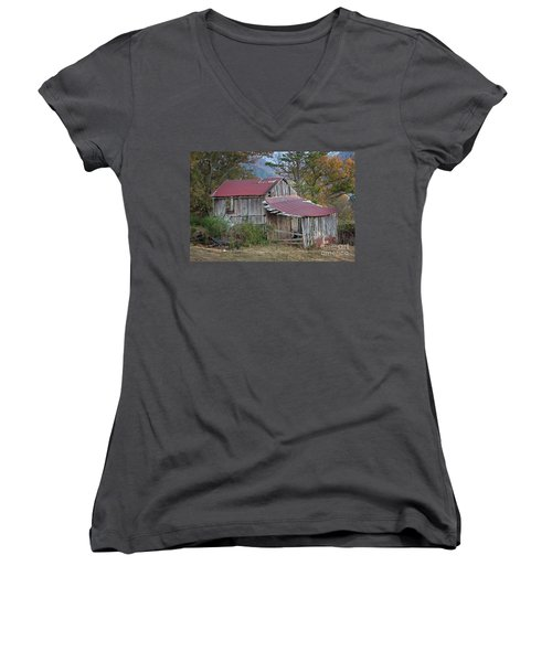 Women's V-Neck T-Shirt (Junior Cut) featuring the photograph Rustic Weathered Hillside Barn by John Stephens