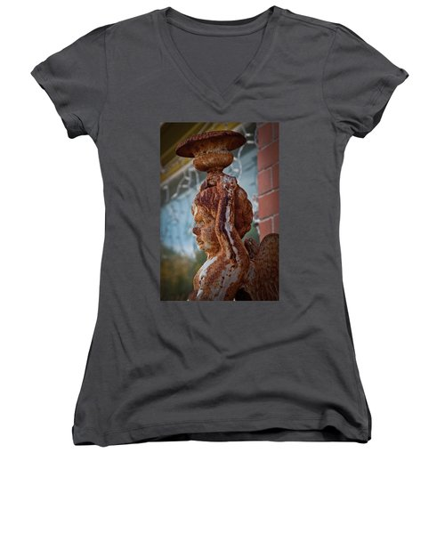 Women's V-Neck T-Shirt (Junior Cut) featuring the photograph Rusty Angel by Linda Unger