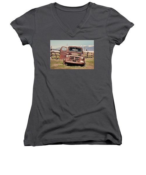 Women's V-Neck T-Shirt (Junior Cut) featuring the photograph Rusty Old Dodge by Ely Arsha