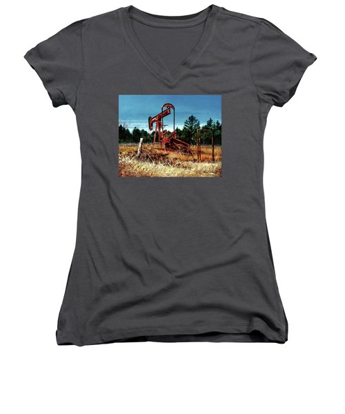 Rusty Pump Jack Women's V-Neck