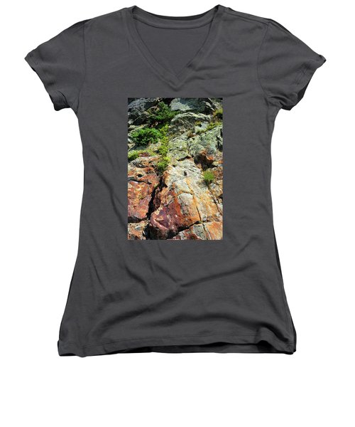 Rusty Rock Face Women's V-Neck (Athletic Fit)