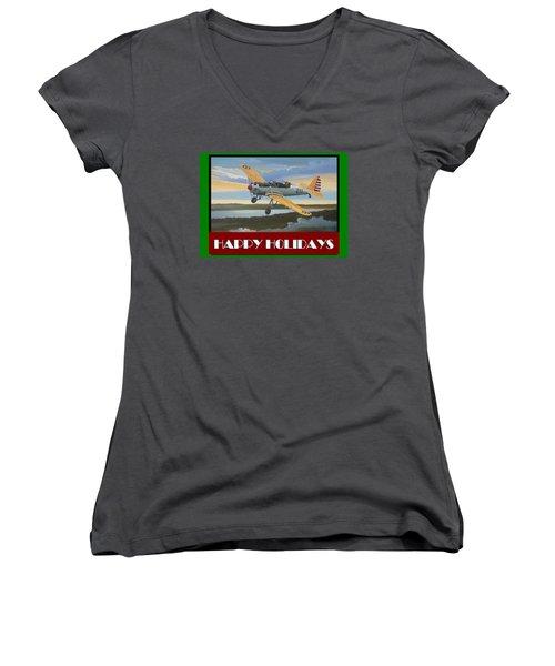 Ryan Pt-22 Happy Holidays Women's V-Neck T-Shirt (Junior Cut) by Stuart Swartz