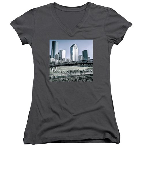 Sabine Promenade Over Buffalo Bayou Women's V-Neck (Athletic Fit)