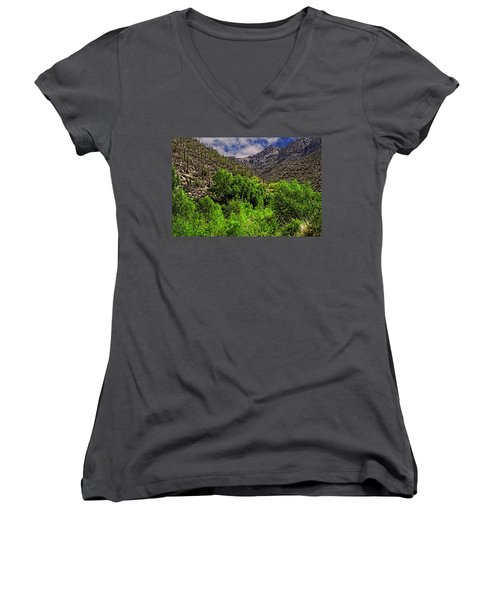 Women's V-Neck T-Shirt featuring the photograph Sabino Canyon H33 by Mark Myhaver
