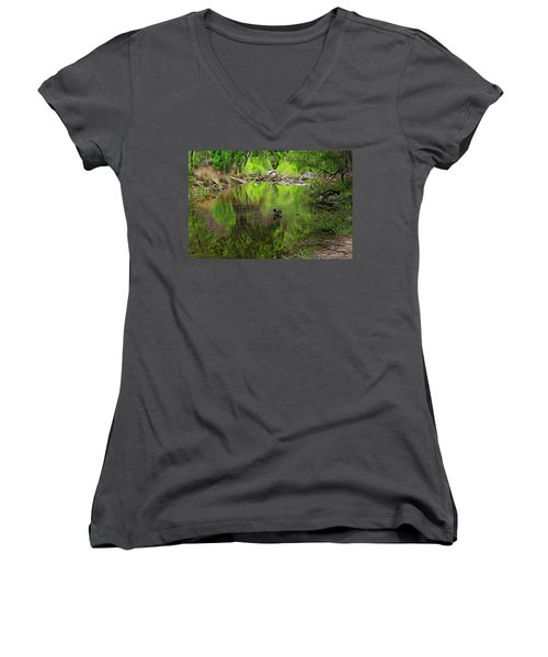 Women's V-Neck T-Shirt featuring the photograph Sabino Reflection Op53 by Mark Myhaver
