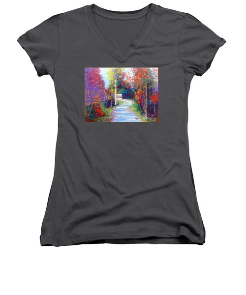 Sackville Walking Trail Women's V-Neck T-Shirt (Junior Cut) by Rae  Smith